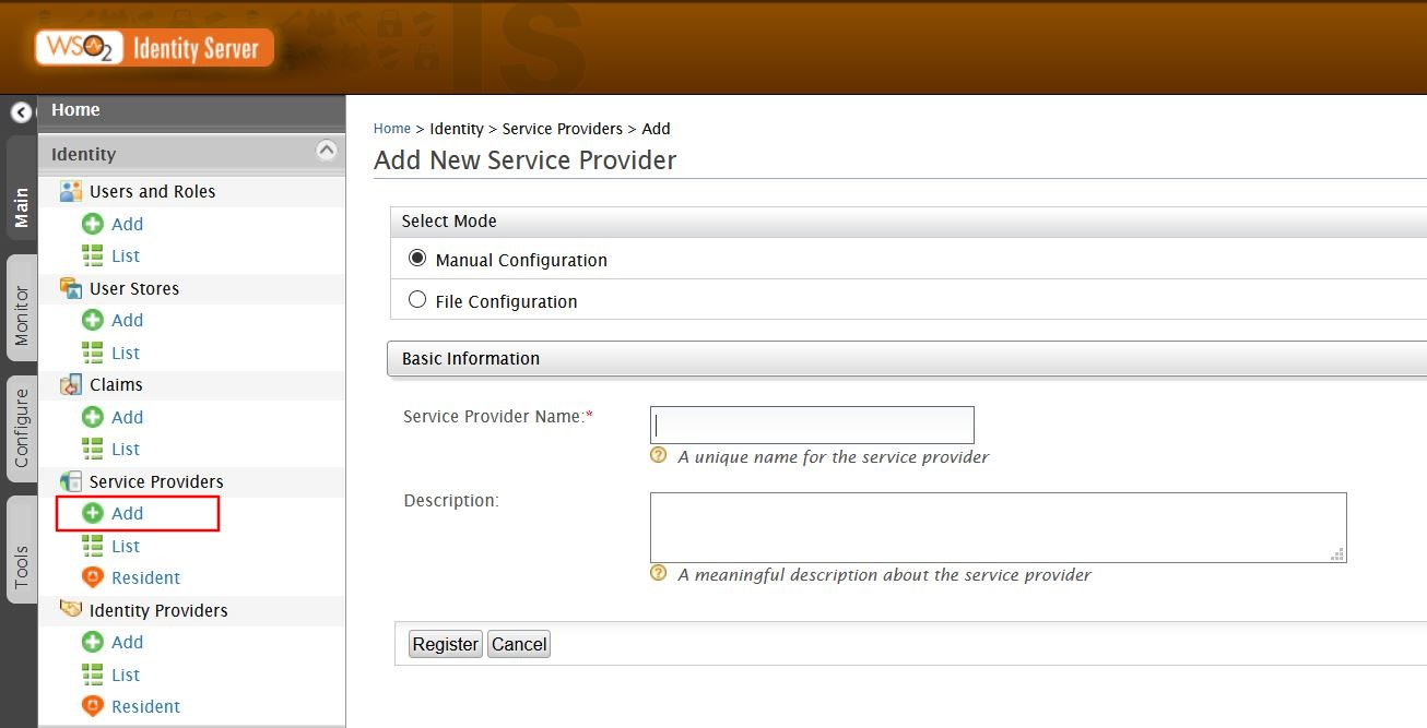 SAML Single Sign On (SSO) using WSO2 as Identity Provider, Add Service Provider Manually
