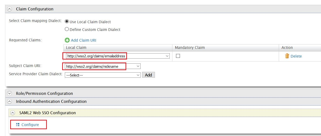 SAML Single Sign On (SSO) using WSO2 as Identity Provider, Claim Configuration