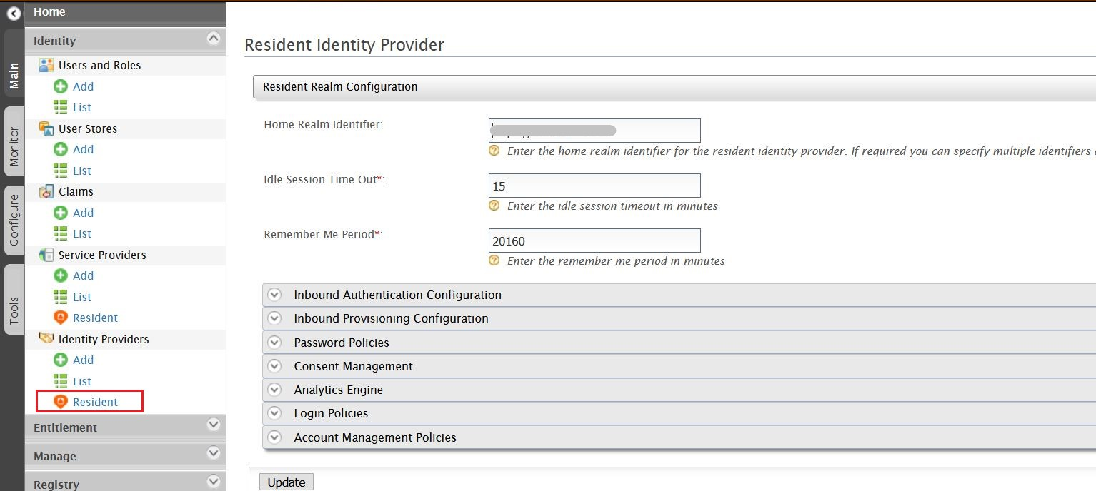 SAML Single Sign On (SSO) using WSO2 as Identity Provider, Set Home Realm Identifier URL