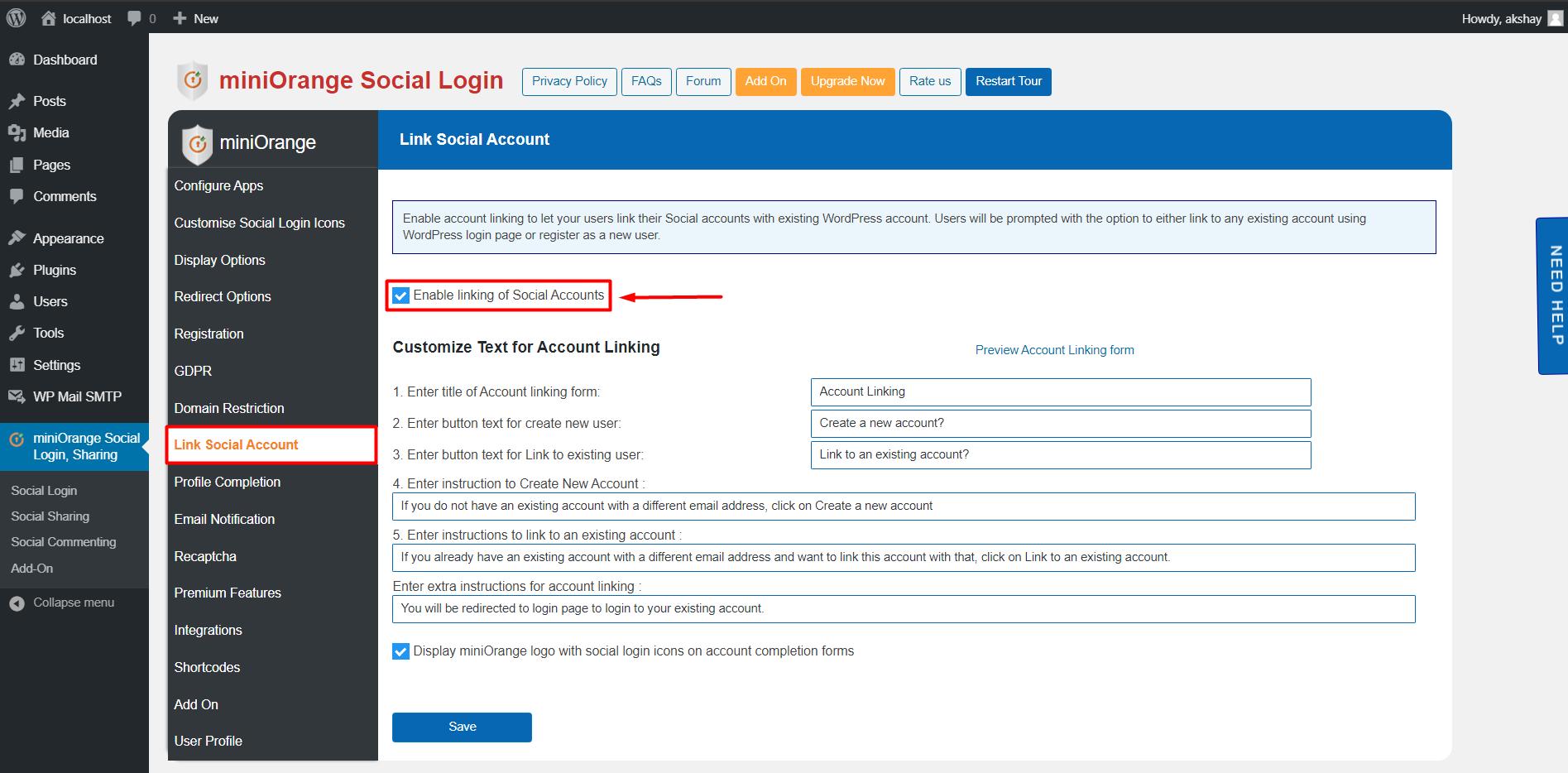 social login enable Account link Social