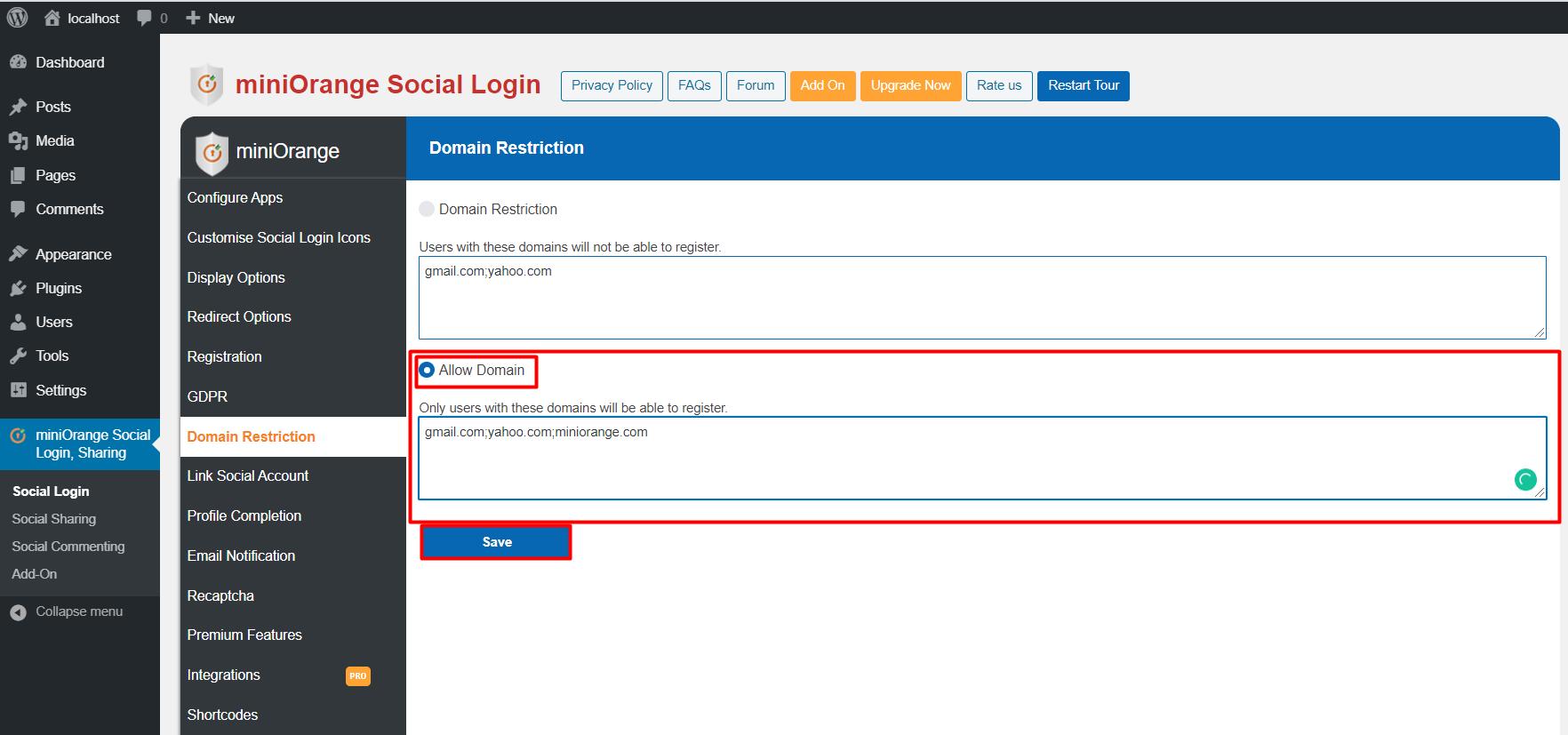 Social login Allow Domain