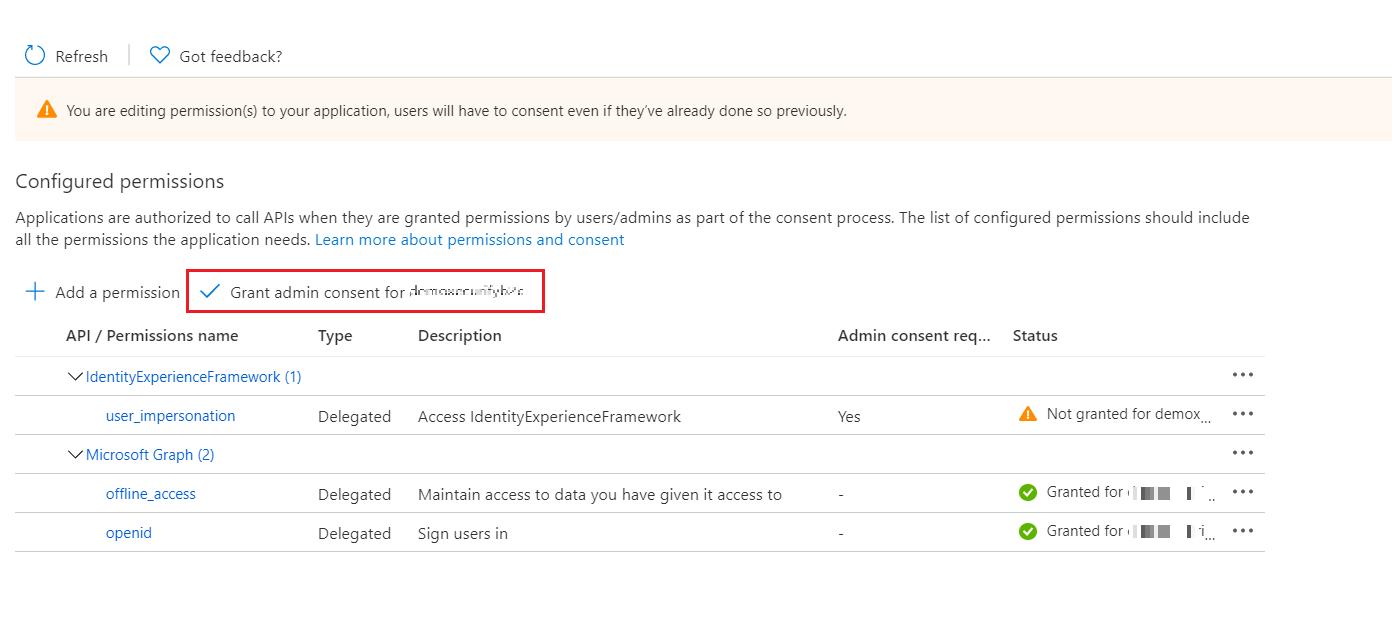 SAML Single Sign-On (SSO) using Azure B2C as Identity Provider (IdP),for SAML 2.0 Azure B2C, Grant Admin