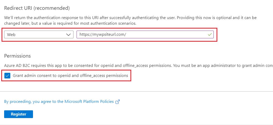 SAML Single Sign-On (SSO) using Azure B2C as Identity Provider (IdP),for SAML 2.0 Azure B2C,WP-app Register
