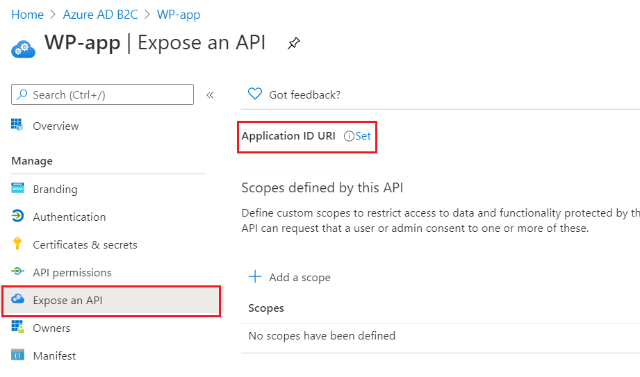 SAML Single Sign-On (SSO) using Azure B2C as Identity Provider (IdP),for SAML 2.0 Azure B2C,WP-app Expose a sso login