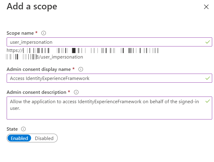 SAML Single Sign-On (SSO) using Azure B2C as Identity Provider (IdP),for SAML 2.0 Azure B2C, custom scopes