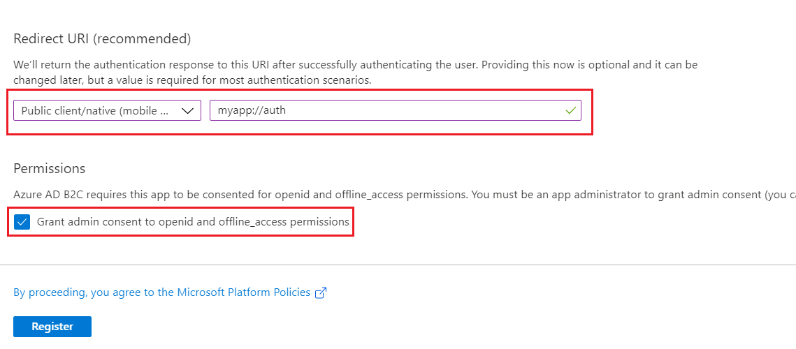 SAML Single Sign-On (SSO) using Azure B2C as Identity Provider (IdP),for SAML 2.0 Azure B2C, Register