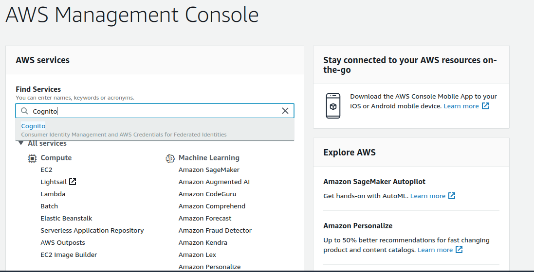 aws credentials for cognito as sp