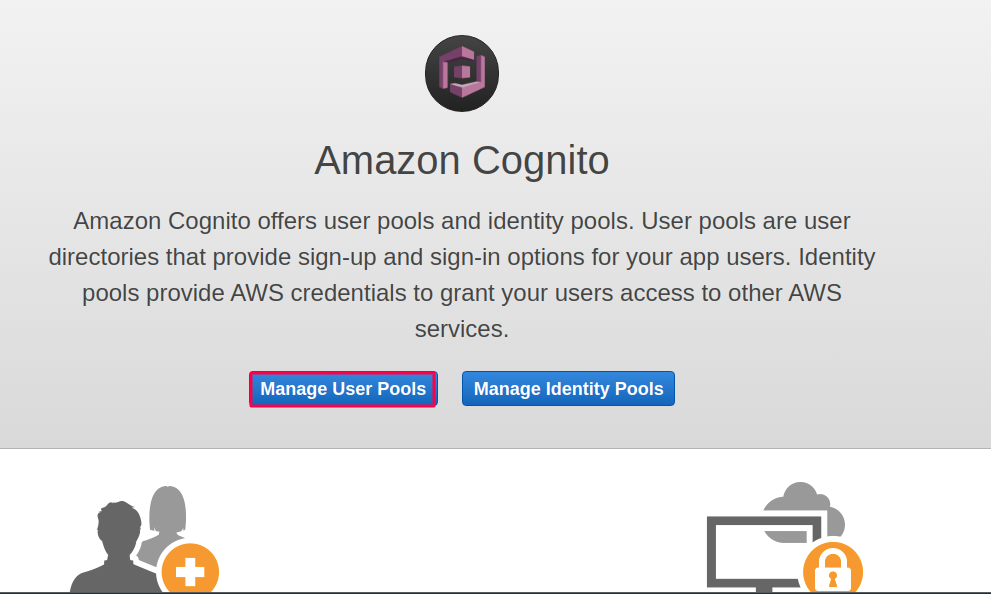 manage user pools aws cognito as sp