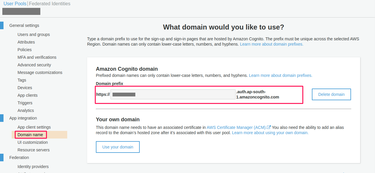 add domain name aws cognito as sp