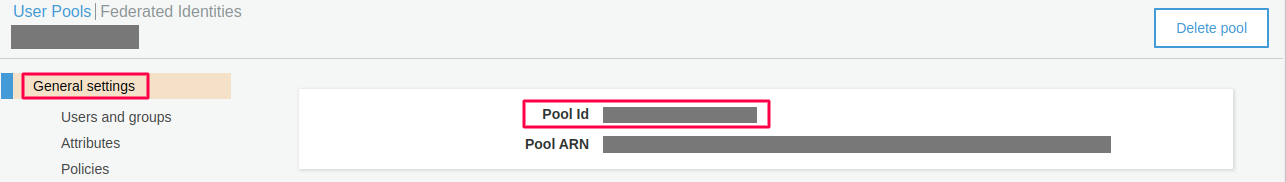 pool id aws cognito as sp