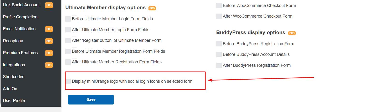 social login miniorange logo option