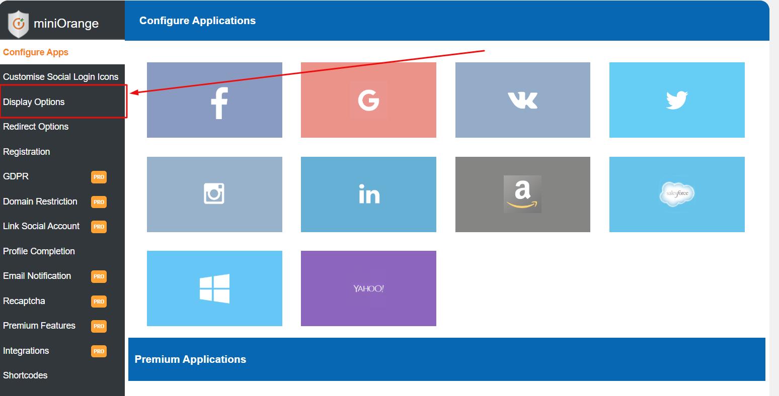 social login miniorange logo on page