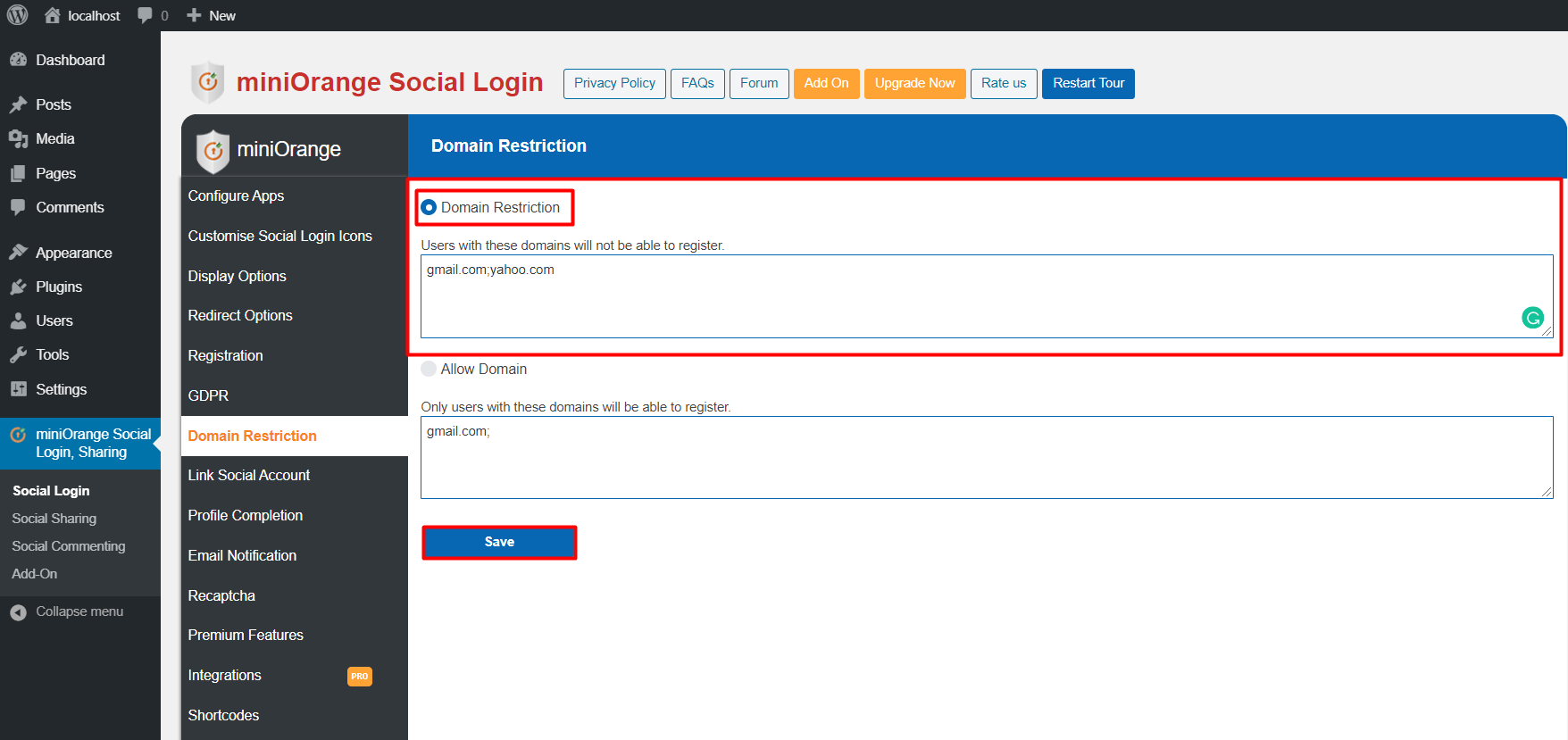 Add domain name in Domain Restriction