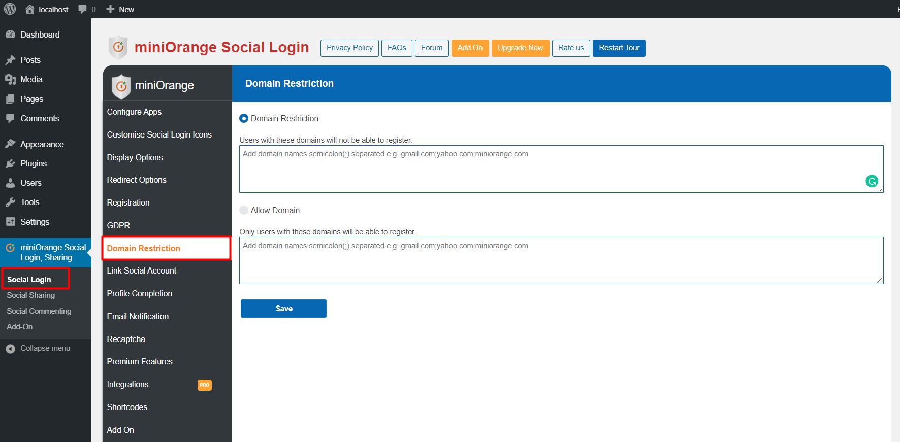 domain restriction Social login on domain Restriction tab