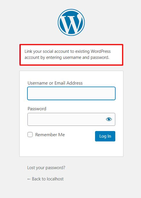 social login existing account on wordpress