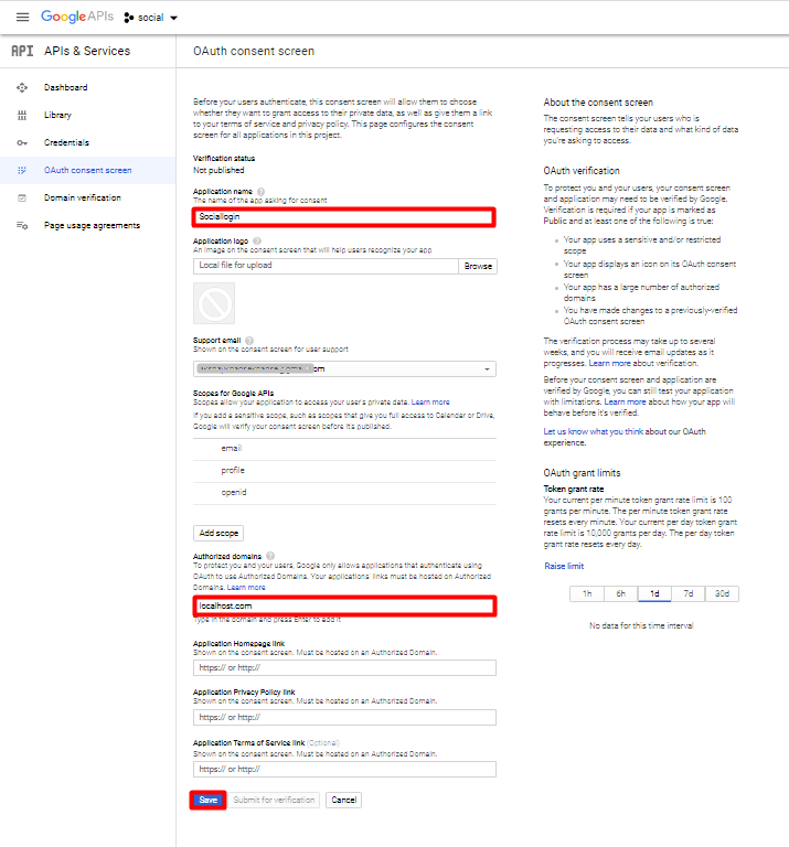 Google OAuth consent