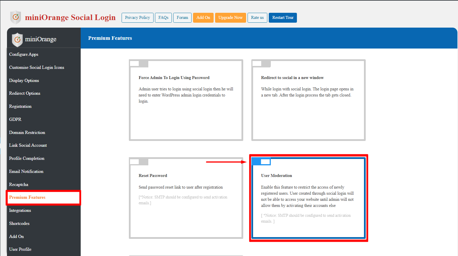 Enable User Moderation in social login