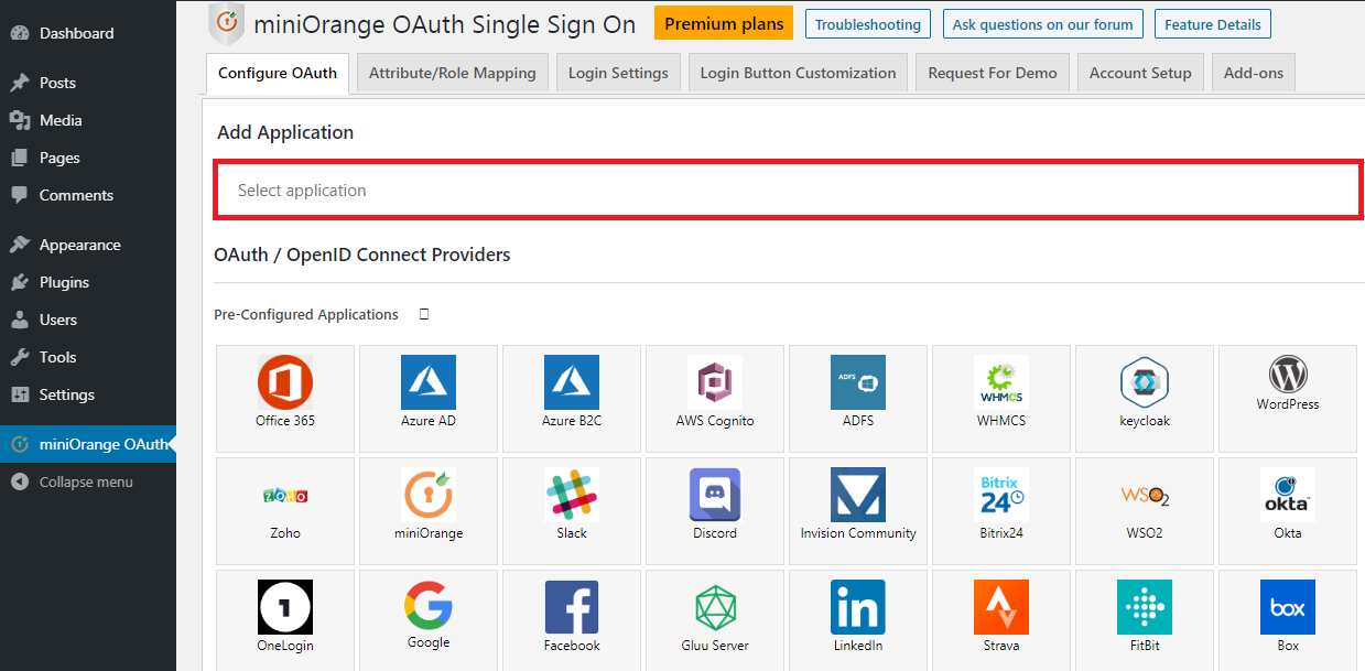 wordpress oauth client plugin sso : search oauth provider