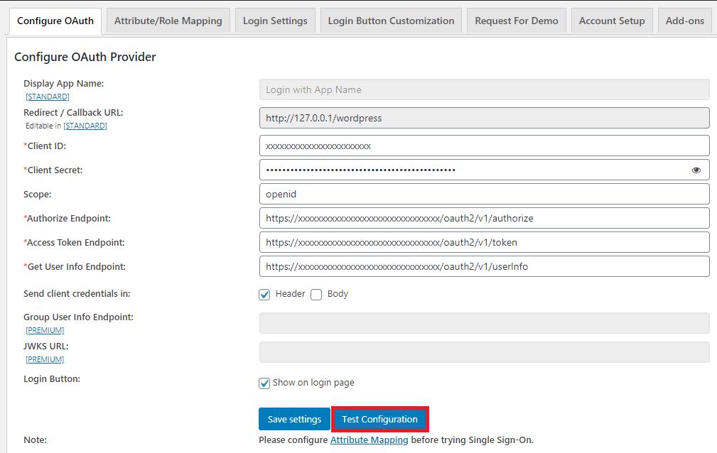 wordpress oauth client plugin : test congifuration