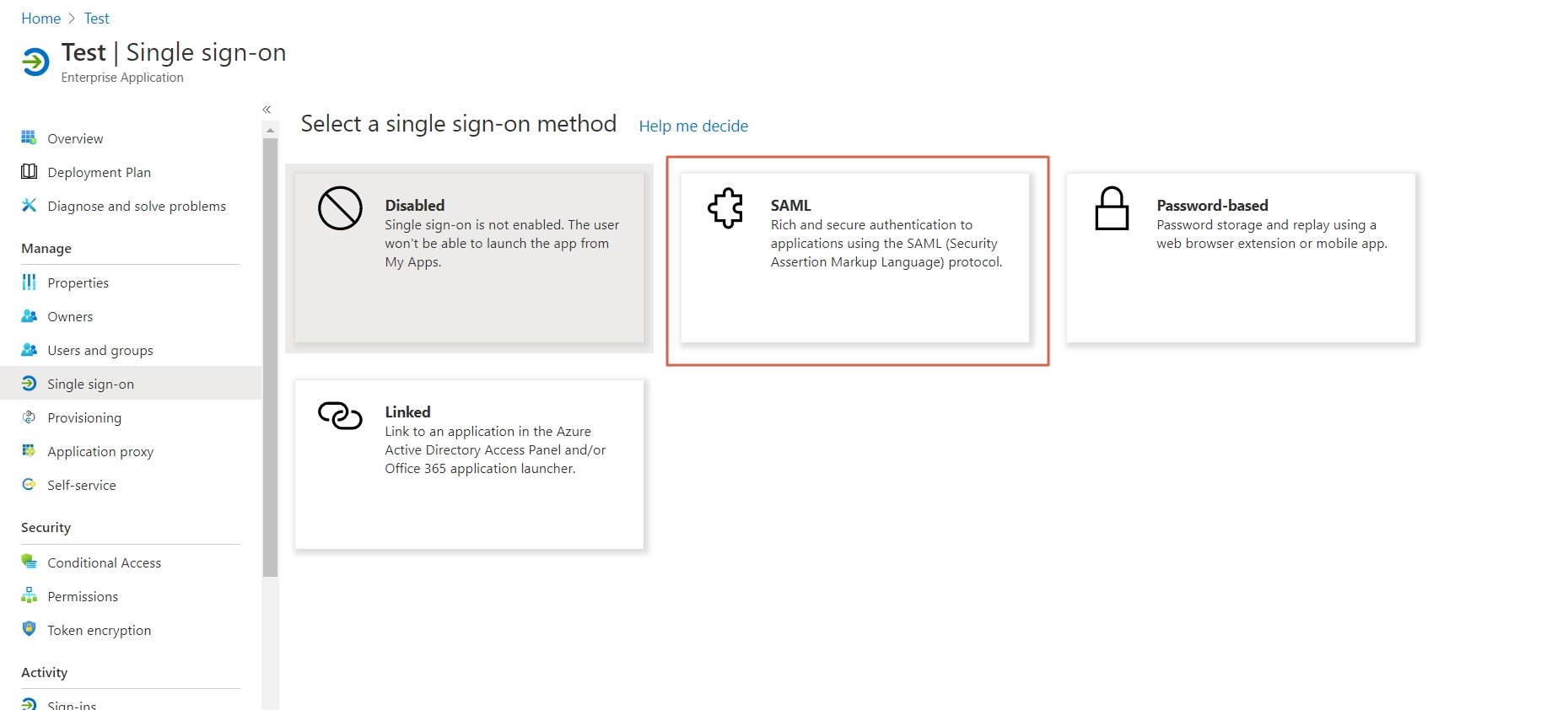 Single Sign On(SSO)using Azure AD, Azure AD SAML SSO select saml