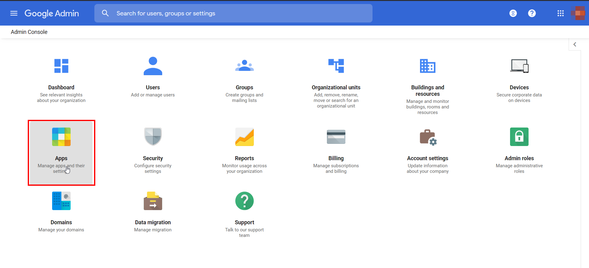 Google-apps Admin Console