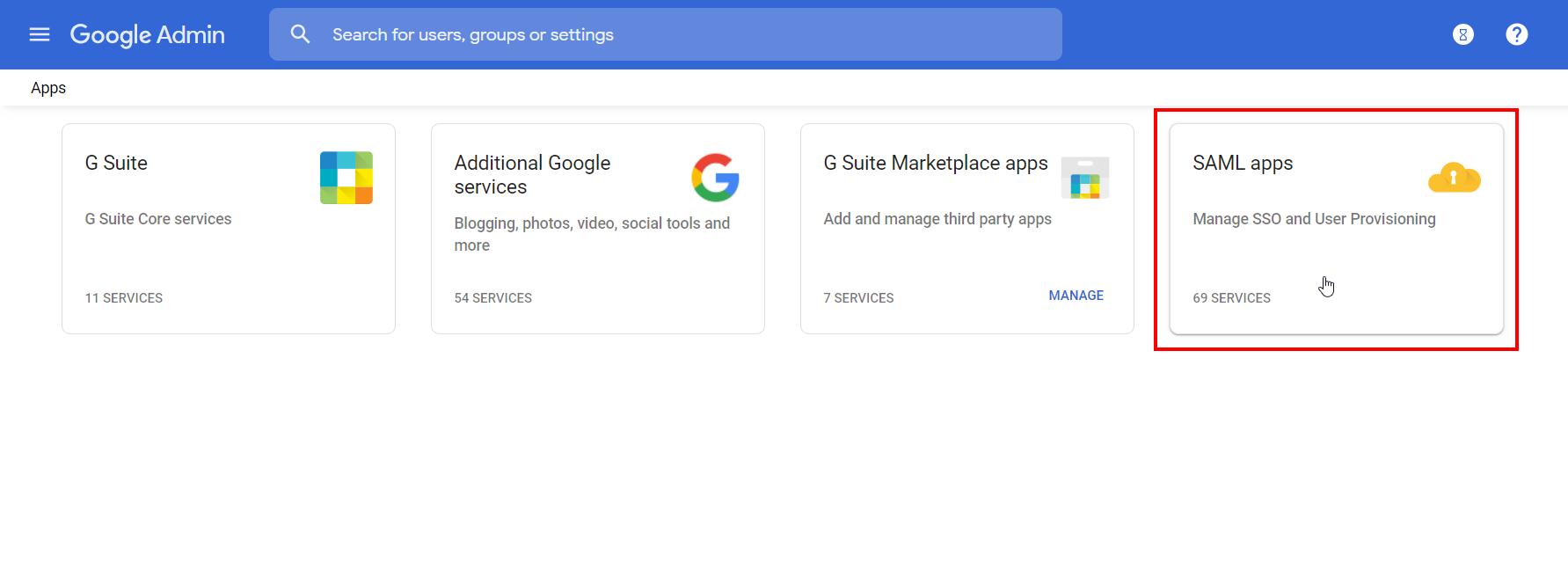 Google-apps SAML Apps