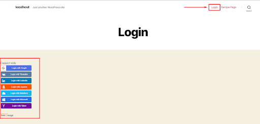 social login SHORTCODE in PHP file