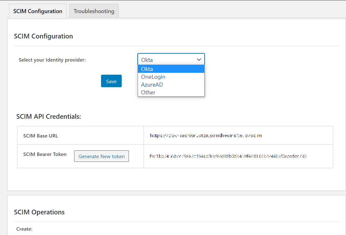 User provisioning with Okta of SCIM Standard - create application