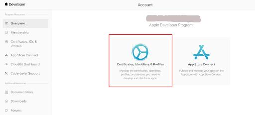 apple login Certificates, Identifiers and Profiles
