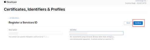 apple login description and clientid