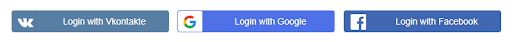 social login select apps like vk,google,fb