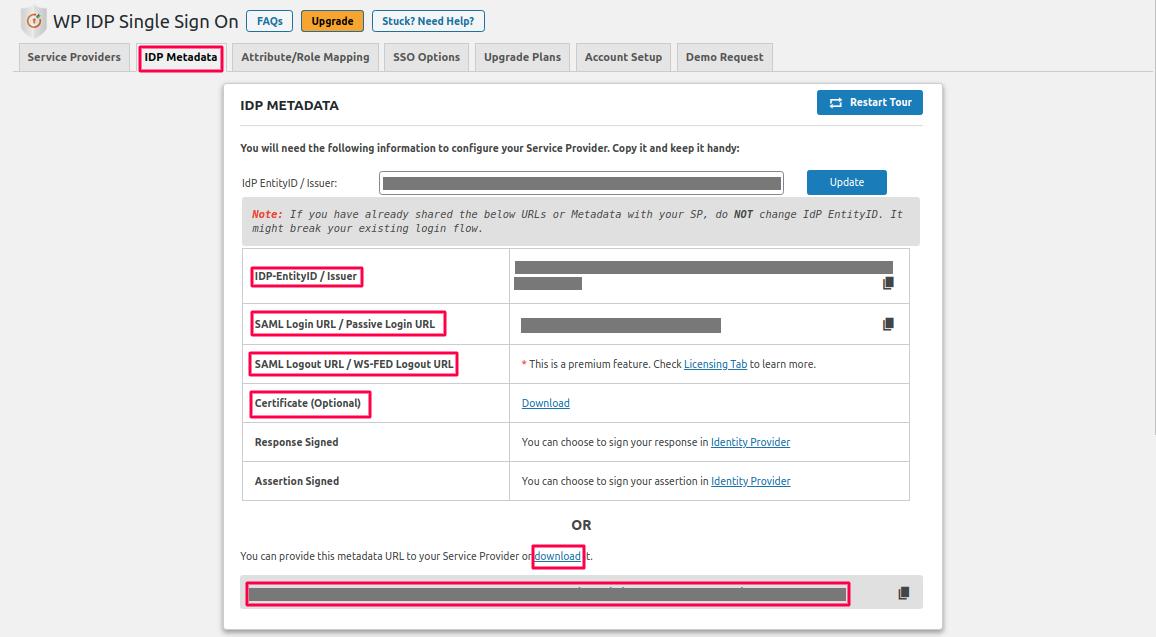 wordpress saml upload metadata canvas as sp