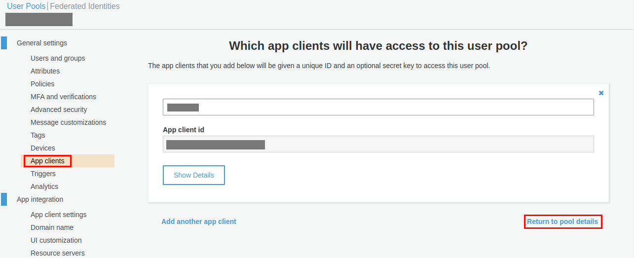app clients aws cognito as sp