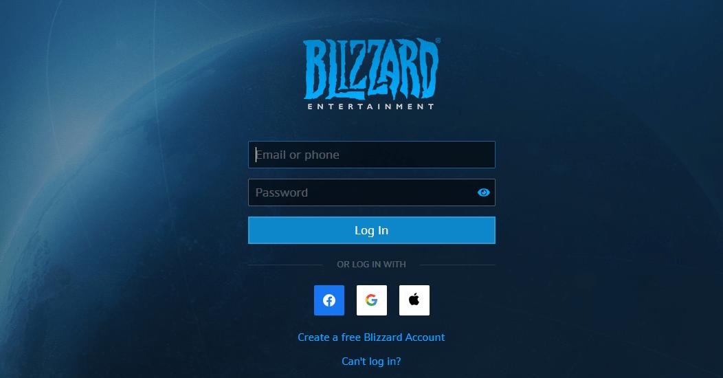 Login to blizzard