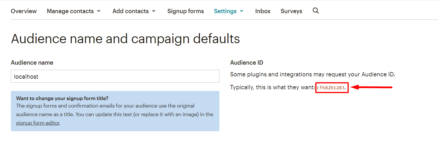 mailchimp Audience id as a List ID
