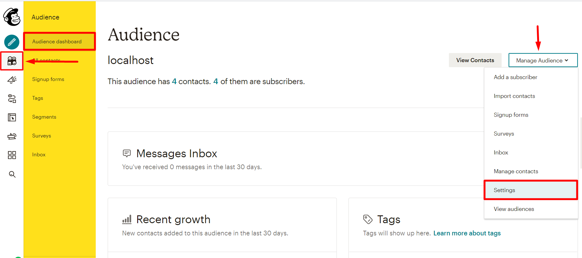 social login mailchimp Audience and click on manage audience and select settings