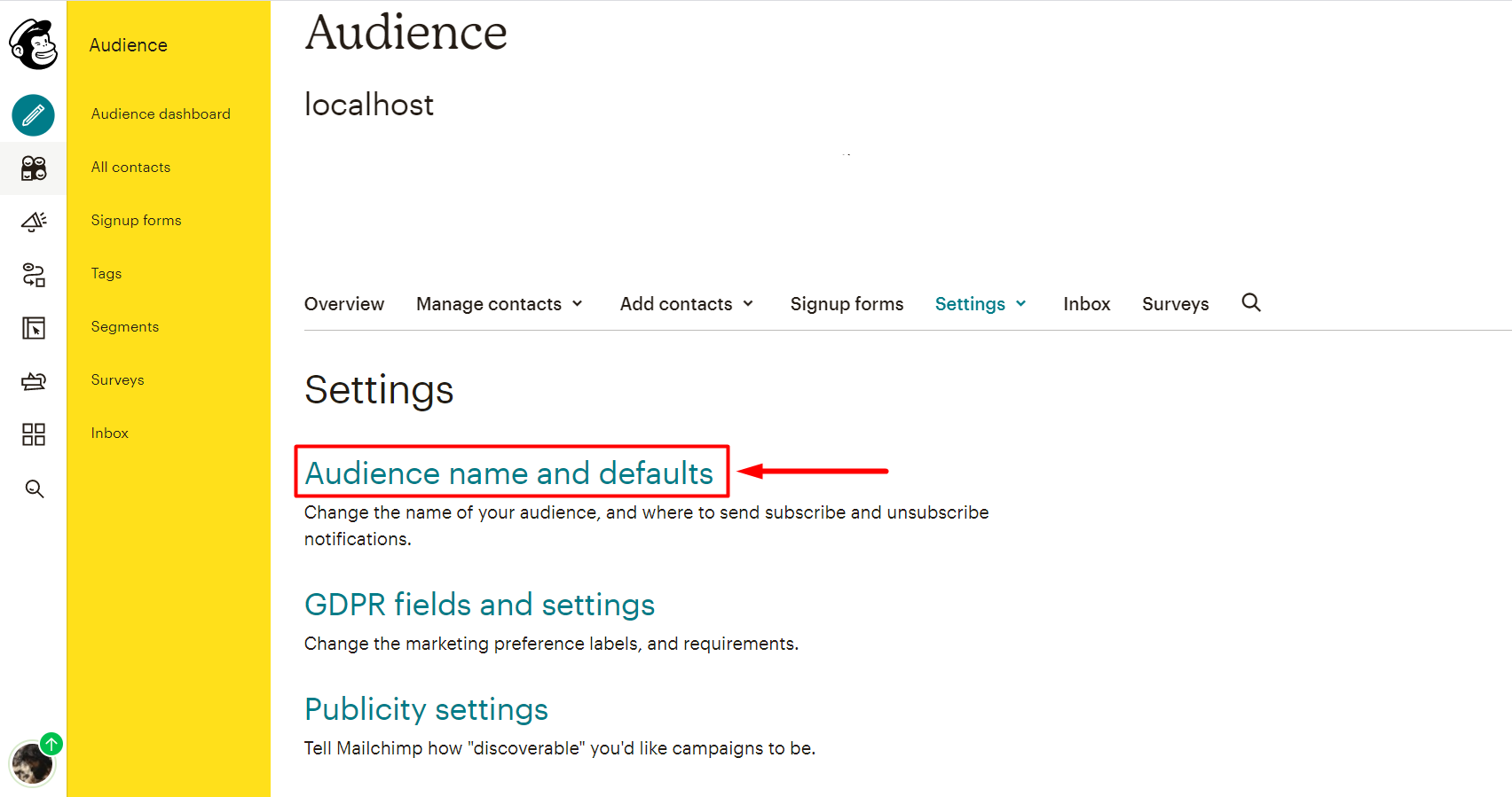social login mailchimp Audience name and defaults and Audience id