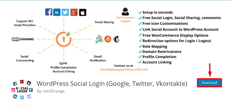 download social login plugin for woocommerce