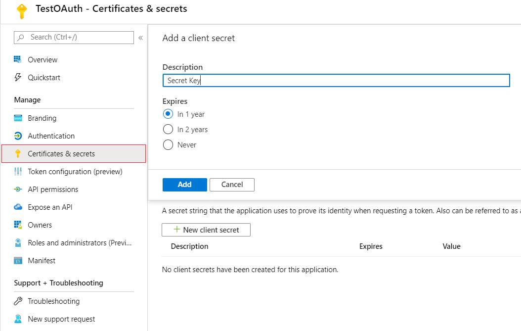 OAuth/OpenID/OIDC Single Sign On (SSO), AzureAD SSO secret-Key