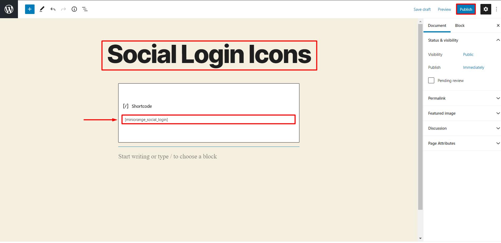 social login shortcode in edit page