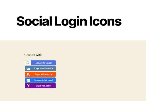social login icons on website