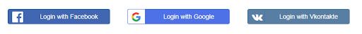 social login horizontal icons on website