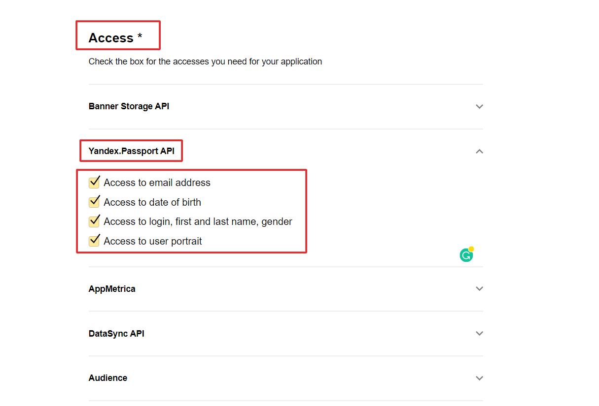 social login yandex access to login