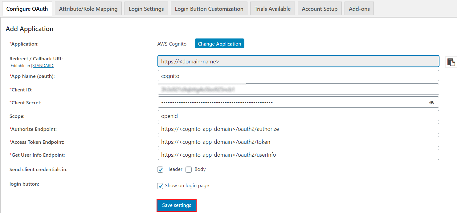 OAuth/OpenID Amazon Cognito Single Sign On SSO save settings