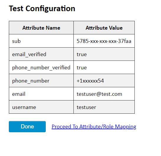 OAuth/OpenID Amazon Cognito Single Sign On SSO test congifuration result