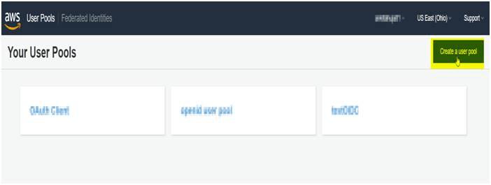 OAuth/OpenID Amazon Cognito Single Sign On SSO Create New AWS Cognito Pool