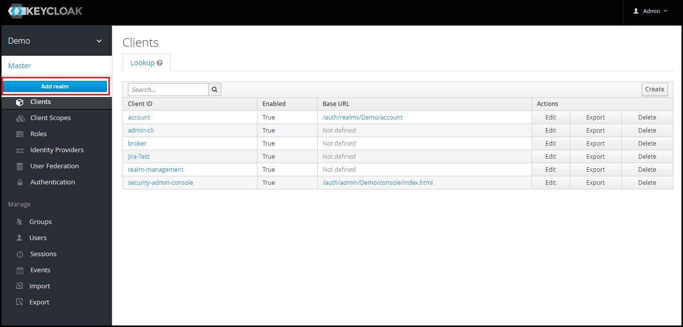 OAuth/OpenID Keycloak Single Sign On SSO add realm