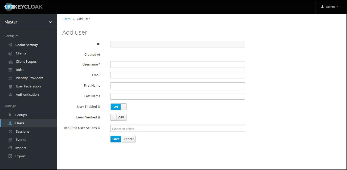 OAuth/OpenID Keycloak Single Sign On SSO add user