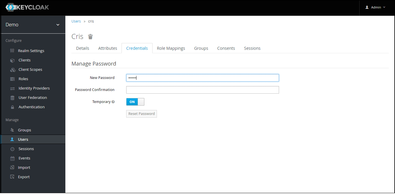 OAuth/OpenID Keycloak Single Sign On SSO set password