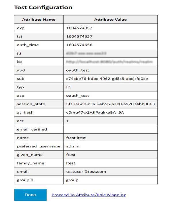 OAuth/OpenID Keycloak Single Sign On SSO test congifuration result